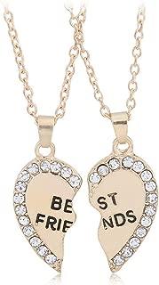 Best Friends Gift Necklace Set of 2 - Gold Plated Diamond Heart Pendant - Friendship Evergreen