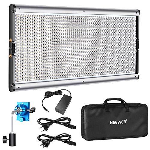 Neewer Luz LED Regulable de Iluminación Video con Marco de Metal 1320 Bombillas LED 3200-5600K,CRI 2829Lux/m,CRI 96+,Adaptador...