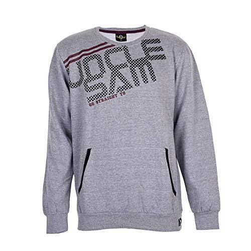 Uncle Sam Herren Sweatshirt mit Kängurutasche, Grey Melange, Größe:M