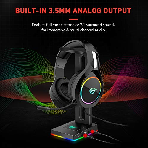 Havit RGB Headphones Stand with 3.5mm AUX and 2 USB Ports, Headphone Holder for Gamers Gaming PC Accessories Desk