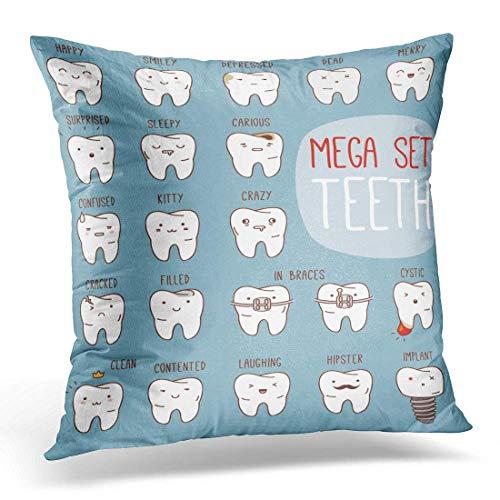Hangdachang Throw Pillow Cover Teeth Mega Big Dental Collection para Sus Muchos Diversos Fundas de Almohada Decorativas Decoración del hogar Funda de Almohada Cuadrada de 45x45 cm