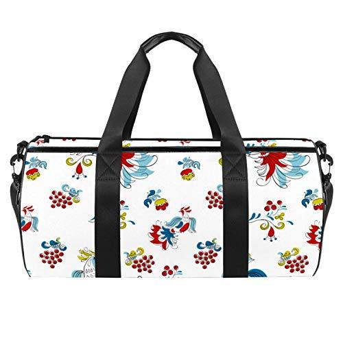 LAZEN Schulterhandliche Sport-Sporttaschen Travel Duffle Totes Bag für Männer Frauen Firebird und Johannisbeere