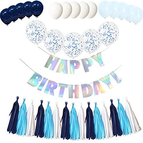O CAT Decoración para cumpleaños infantiles, 1 guirnalda con mensaje en alemán 'Alles Gute zum Geburtstag Happy Birthday' + un juego con borla + globos de confeti transparentes + globos perlados