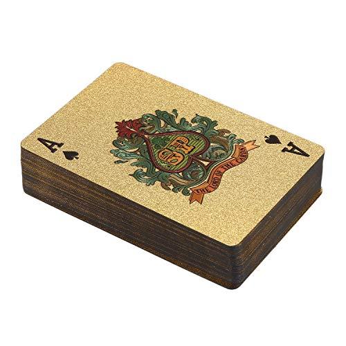 Ctzrzyt 1 StüCke 24 Karat Gold Spiel Karten Kunststoff Poker Spiel Deck Folie Poker Pack Magische Karten wasserdichte Karte