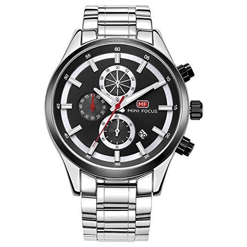 QZPM Reloj De Cuarzo para Hombre Manos Luminosas Multifunción 30M Impermeable Calendario Analógico Cronógrafo Acero Inoxidable Relojes,Negro