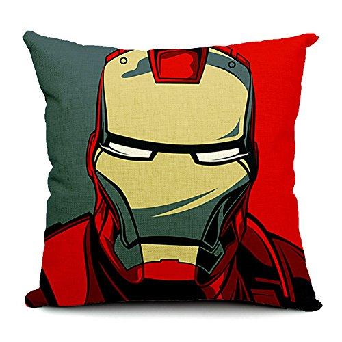 Iron Man Cotton Linen Decorative Throw Pillow Case Cushion Cover, 17.7' x 17.7'