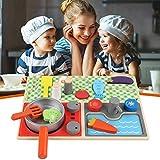 roosteruk Holzspielzeug für die Kinderküche, Wooden Kitchen Spielspielzeug Set Geburtstagsgeschenk, Pretend Play Toys Lernspielzeug Set für Kinder Kinder