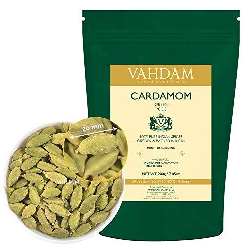Vainas Enteras Cardamoma - Verde Puro, Frescos y Sabroso, Cosecha, 100% Puro Indio (7.05oz/200g)