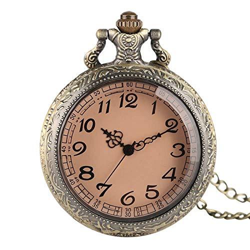 WMYATING Atmosphère Nouvelle et Haut de gamme, précision de Regalos de Cristal Transparente marrón Vintage para Hombres Reloj de Bolsillo de Cuarzo de Las Mujeres