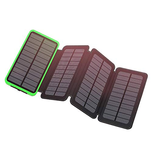 Solar Charger 12000mAh,EREMOKI Outdoor Portable Power Bank with 4 Solar Panels,Fast Charge External Battery Pack with Dual 2.1A Output USB Compatible with Smartphones,Tablets,etc.(Waterproof) (Green)