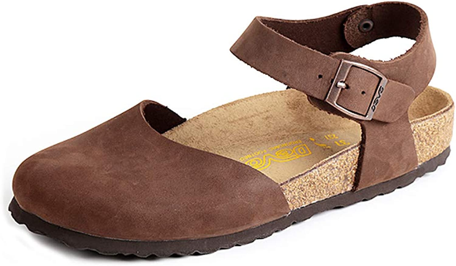 DEVO Women's Oiled Leather Cork Footed Messina Clogs Sandal Flats