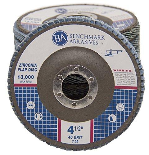 "4.5"" x 7/8"" Premium Zirconia Flap Disc Grinding Wheel 40 Grit Type 29 - 10 Pack"