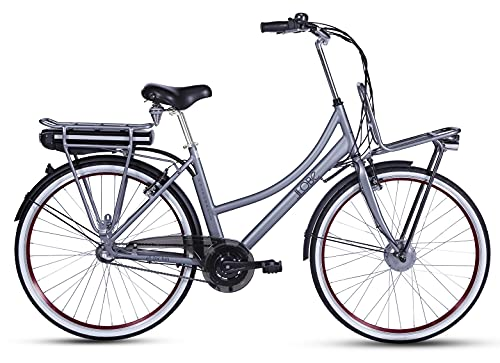 LLOBE City E-Bike Rosendaal 2 Lady grau 28 Zoll, Akku 36V / 10.4Ah, 250W Motor