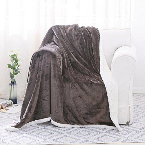 "HollyHOME 60""x70"" Sherpa Blanket, Reversible Fleece Throw Super Soft Cozy Warm Plush Microfiber Sofa Bed Throw Blanket, Coffee Brown"