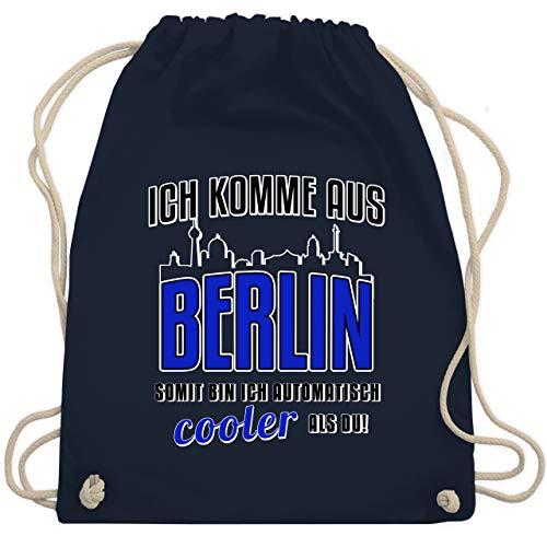 Städte - Ich komme aus Berlin - Unisize - Navy Blau - berliner bags turnbeutel - WM110 - Turnbeutel und Stoffbeutel aus Baumwolle