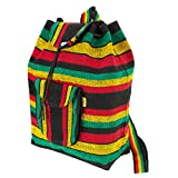PINZON Large Unisex Boho Aztec Schoolbag Foldable Rucksack Hippie Peace Canvas Backpack Bag Casual Daypack for Beach Unisex Bohemian Dufflebag College Rasta Rastafarian Jamaica Handmade in Mexico