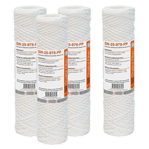 Cartouche SW-25-978-PP sédiment bobinée 9??7/8 - Filtre 25 µm - Crystal Filter® (lot de 4)