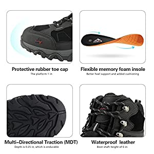 NORTIV 8 Men's Waterproof Snow Winter Hiking Boots Outdoor Mid Trekking Backpacking Mountaineering Shoes Black Size 8.5 US JS19004M