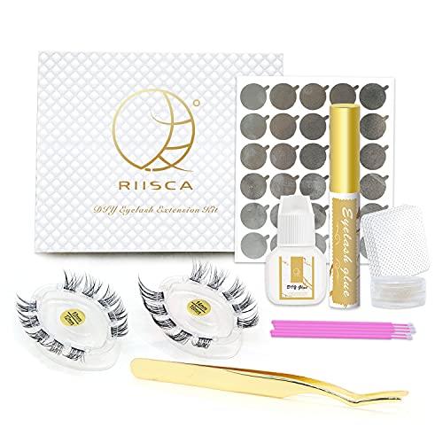 RIISCA DIY Eyelash Extension,Home PRO DIY Lash Extension Kit,20 Clusters Volume Lashes Set,10mm,12mm,14mm,16mm-Pack of Individual Lashes, Sensitive Eyelash Extension Glue,DIY Glue, Lash Tweezer