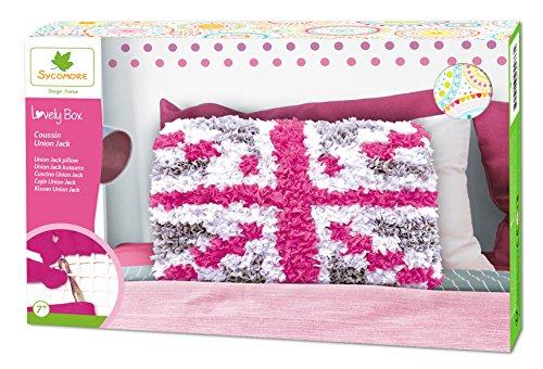 Kit de loisir créatif enfant - Coussin cotton strippes Union Jack - DIY - Lovely Box Collector - Dès 7 ans - Sycomore - CRE5220