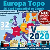 ★EUROPA V2020 KarteTopo Höhenlinien microSD Outdoor Topo Karte - Kompatibel zu Garmin