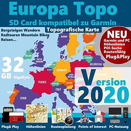 Europa Outdoor Karte für Garmin Navigation - Zum Wandern, Reiten, Bergsteigen, Radfahren, Radtour Garmin Oregon 650, 650t, 700, GPSMap 62stc, 64, 64s,GPSMap 62s, 62st, 62sc,GPSMap 66s, 66st,Oregon 550, 550t, 600,600t,Montana 600, 600t, 610,Monterra,Edge 800, 810, 1000, 1030,GPSMap 60* & 60 Csx*