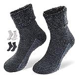 NewwerX 2 Paar Alpaka-Wollsocken mit ABS-Antirutschsohle - Die sanfte Entspannung für die Füße -...