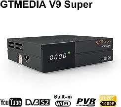 GT Media V9 Super DVB S2 Decodificador de Receptor de Satélite Digital Freesat H.265 1080P Full HD WiFi Incorporado Compatible con Ccam, Newcam, IPTV, Youtube, PVR, PowerVu, Dre y Biss Clave