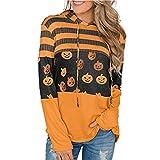 TDEOK Sudadera con capucha para mujer, con cordón y dobladillo curvado, para Halloween, de gran tamaño, para Halloween, naranja, S