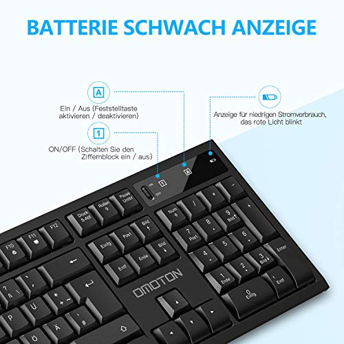 OMOTON Tastatur Maus Set Kabellos, 2.4Ghz Wireless Tastatur Maus Set mit USB Empfänger, Kabellose Funktastatur mit Maus für PC, Desktop, Notebook, Laptop, Windows XP/7/8/10, QWERTZ-Layout, Schwarz