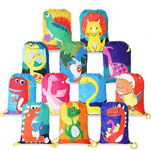 12 Stück Mitgebsel Kindergeburtstag Geschenktüten,Dinosaurier Gastgeschenke Beutel für Kinder Geburtstag, Give Aways Mitgebseltüten, Dino Partytüten,Geschenktaschen