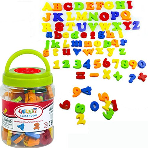 SIMUER Letras y nmeros magnticos Magnetic Alphabet Letters Numbers Symbols Refrigerator Magnets Educational Toys Teaching Aid for Preschool Kids with Bucket 78 PCS