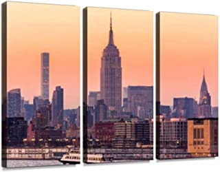midtown manhattan empire states hudson river sunset misty citys and Wall Artwork Exclusive Photography Vintage Abstract Paintings Print on Canvas Home Decor Wall Art 3 Panels Framed Ready to Hang