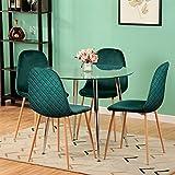 GOLDFAN Tavolo da Pranzo Rotondo in Vetro e 4 Sedie Tavolo da Cucina Moderno Gambe in Metallo e Sedie in Morbido Velluto Set Sala da Pranzo, 80 cm (Verde)