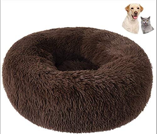 Pet Bed, Cat Dog Beds, Plush Donut Soft Comfortable Round Waterproof Anti-Slip Bottom Calming Dog Bed For Dogs Mattress Large Medium, Deep Brown XYXG