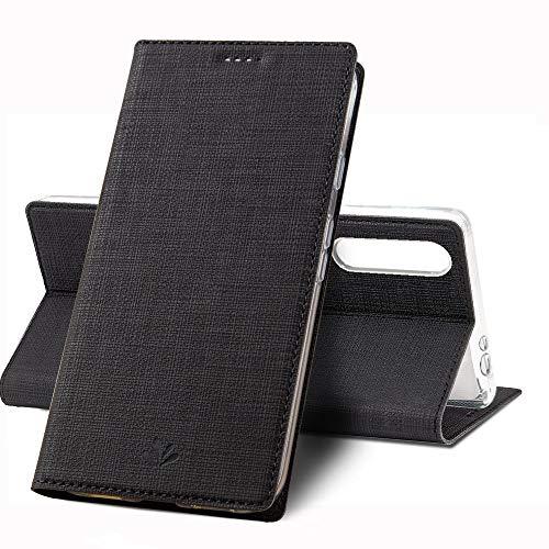 MSK Handyhülle für Sony Xperia L4 Hülle,Leder Tasche Flip Wallet Hülle Cover Ledertasche Schutzhülle Etui Hülle Schale Build-in Stand für Sony Xperia L4 (Schwarz)