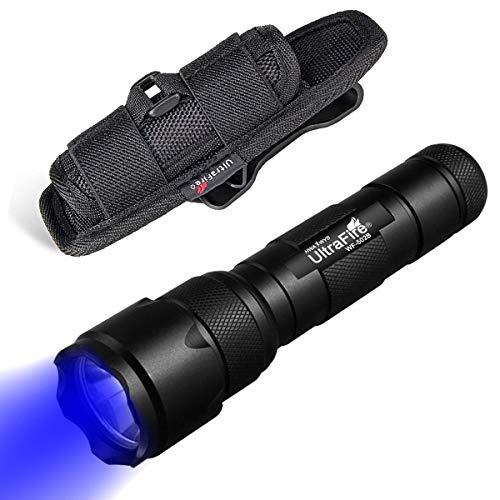 ULTRAFIRE 502B 470nm Luce Blu Zoomable Torcia Tattica LED, con Fondina per Torcia, Modalità Singola, Messa Fuoco Regolabile, Torcia Raggio Blu da Caccia Impermeabile per Visione Notturna
