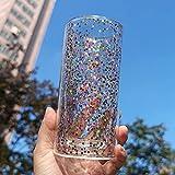 RTYY Taza de Vidrio de Doble Pared Resistente al Calor, Taza de Jugo, Vasos para Beber, Estilo Coreano japonés, Cristal Rosa, Arena movediza, Burbuja
