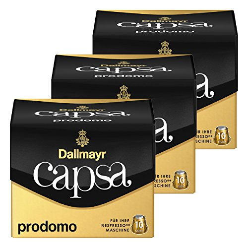 Dallmayr Capsa Prodomo, Nespresso Kompatibel Kapsel, Kaffeekapsel, Arabica Röstkaffee, Kaffee, 30 Kapseln