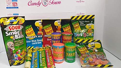 Süßigkeiten-Box mit giftigen Abfällen von Candy Town | Giftige Abfälle Smog Bälle, Gummi, Bars, Würmer, Atomic Bon Bons, Sauer Candy – 11 Artikel Geschenk – CT12