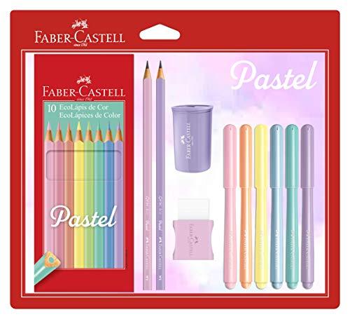 Kit Tons Pastel, Faber-Castell, KIT/PASTEL, Lápis de Cor + Canetinhas + Borracha + Apontador + Grafite
