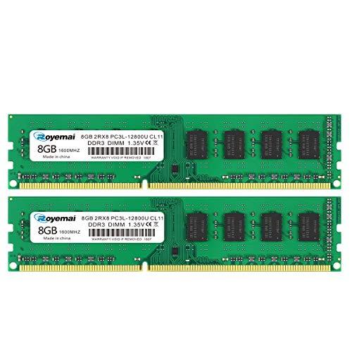 DUOMEIQI 16GB Kit DDR3 12800U Dimm Arbeitsspeicher PC3L- 12800 DDR3L 1600mhz 2X8GB 2Rx8 1.35V/1.5V CL11 Arbeitsspeicher für Desktop Computer