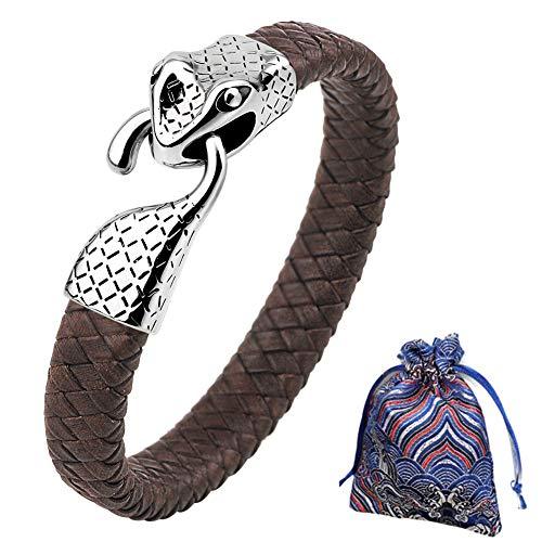 WLXW Colección de Viking Nordic, Pulsera de la Cabeza de Los Hombres Y de Las Mujeres del Acero Inoxidable de la Serpiente, Cuero de la Pulsera Trenzada, Fine Gift, Los 21.5CM,04