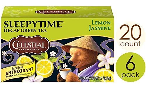 Celestial Seasonings Green Tea Sleepytime Decaf Lemon Jasmine 20 Count Pack of 6