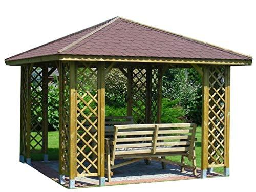 Stan-Wood GARTENLAUBE HOLZPAVILLON PAVILLON MIT HOLZDACH 3m x 3m (Außenmaß 3.45m) Pfostenstärke: 7 x 7 cm ! HÖHE QUALITÄT