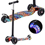 Scooters for Kids, Kick Scooter with Adjustable Height | Extra-Wide Deck | PU Flashing 3-Wheels, Cool Scooter for Kid from 2 to 14 Year-Old (Re Street Dance Doodle)