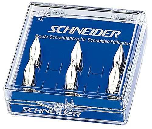 Schneider Schreibgeräte Ersatzfeder für Füllhalter, Base Kid und ID, M, 6er Schachtel mit 1x Steckhilfe