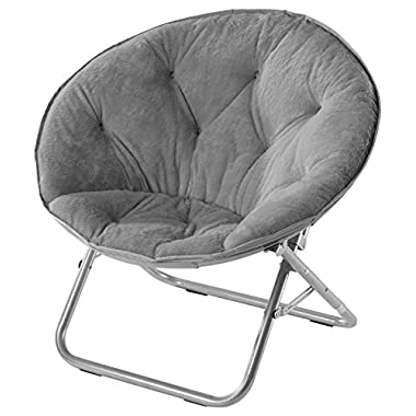 Urban Shop Faux Fur Saucer Chair, Grey, 29 X32 X22
