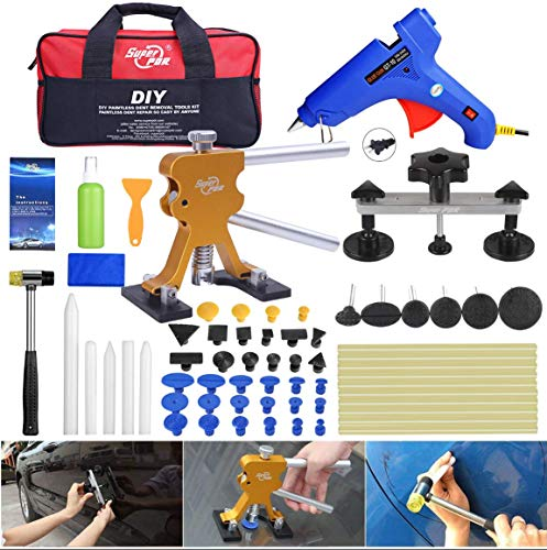 Fly5D 53Pcs Auto Body Paintless Dent Repair(PDR) Removal Tool Kits Dent Lifter Bridge Glue Puller Kits with Tool Bag