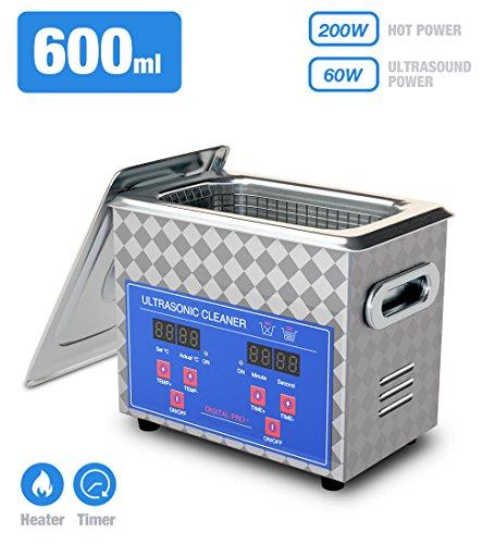 Nettoyeur à Ultrasons,Jakan Appareil Nettoyage Ultrasons Machines de nettoyage à ultrasons pour Nettoyer Bijoux /CD/ Lunettes /Bracelet /Cosmétique /Outils de Laboratoire Instruments Accessoires et etc (600ML)